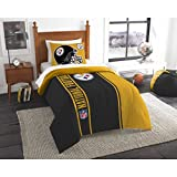 2 Piece NFL Pittsburgh Steelers Comforter Set Twin Size, Dorm Sports Fan Bedding, Applique National Football League Themed Team Logo Printed College Unisex Sport Fans Bedroom, Yellow Black Multicolor