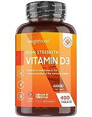 Vitamin D3 4000 IU - 400 Tabletter (Räcker i Ett 1 år) Vitamin D Kraftfulla Kosttillskott för Starkare Immunförsvar, Kalcium Höjande, Friskare Hud, Starkare Ben & Leder, Vit D Utan Sol, Vegetarisk & Keto Vänlig