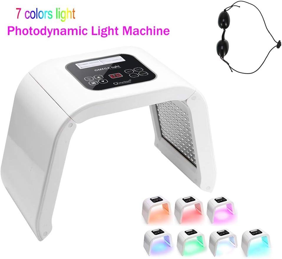 7 Colores Led Lampara Aparato Cabina de Máquina de Belleza PDT para Cuidado Facial, LED Lámpara Tonificadores Foton Rejuvenecimiento Piel y Eliminación del Acné y Arrugas(Blanco)