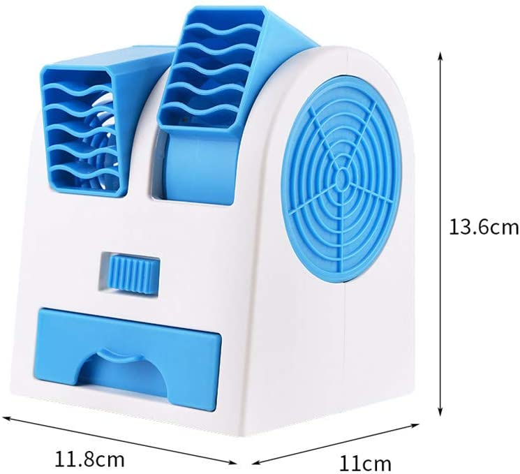 residentD Summer Multifuctional Double Air Outlet Mini Fan Leafless Cooling Silent Fragrance Small Fan Portable USB Desktop Fan Green