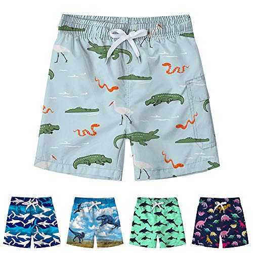 (Freshhoodies Kids Boys Swim Trunks with Mesh Lining 3D Cute Pattern Print Beach Shorts Tropical Vacation Swim Shorts (Crocodile-1, 6-8T))