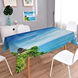 Anmaseven Balinese Rectangle Dinning Tabletop Decor Uluwatu Temple Bali Indonesia Seacoast Cliff Horizon Summer Seascape Nature Print Table Cover for Kitchen Blue Green Size: W54 x L90