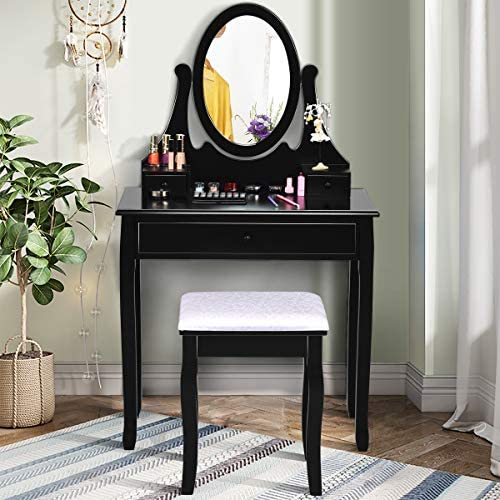 Giantex Vanity Set with Makeup Mirror and Cushioned Stool, Modern Bedroom Bathroom Vanity Makeup Dressing Table with Large Drawers, Girls Women Vanity Table and Stool, Black