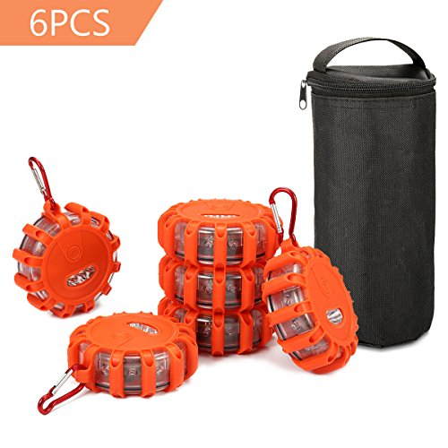 SAFETYON 6Pack 9 Modes Led Road Flares Flashing Warning Light Roadside Flare Emergency Disc Beacon with Metal Hook and Magnetic Base for Car Truck Bike Boat
