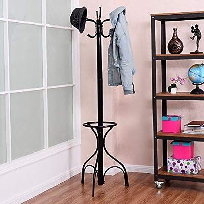 20c2cccc49b Tangkula Coat Rack Metal Frame Study Portable Free Standing Entryway Hat Coat  Jacket Umbrella Holder Hanger with Base Coat Tree Stand (Black 003)