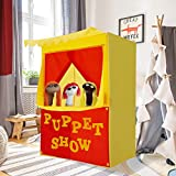 """Alvantor Lemonade Stand Puppet Show Theater Pretend Playhouse Play Tent Kids on Stage Doorway Table Top Sets for Toddlers Curtain Fordable Rods Children Dramatic Furniture, 28""""X20""""X41""""H"""
