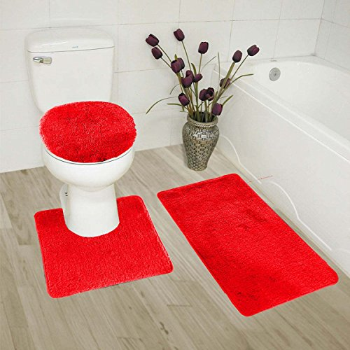 Elegant Home 3 Piece Bathroom Rug Set Bath Rug, Contour Mat, & Lid Cover Non-Slip With Rubber Backing Solid Color # 6 (Red)