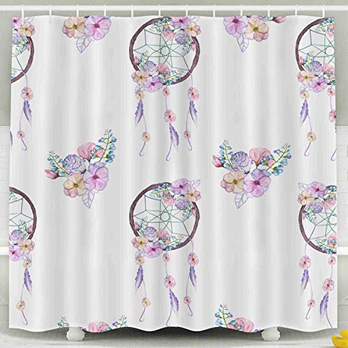 HerysTa Kids Shower Curtain, Waterproof Non-Toxic Room Partition Curtain Thickening Curtain Pattern Floral Dreamcatchers Isolated in Watercolor White Background Bathroom Shower Curtain 78X72 Inch