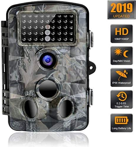 Trail Camera 16MP 1080P Waterproof Wildlife Scouting Camera Hunting Camera with 120 Wide Angle Detection Night Vision Up to 65ft 2.4 LCD 42 IR LEDs 0.2s Trigger Time