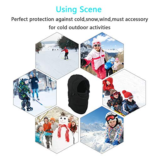 Metable Kids Winter Balaclavas Hat Windproof Face Mask Cover Cap Neck Warmer for Outdoor Sport Ski Snowboarding Cycling Black