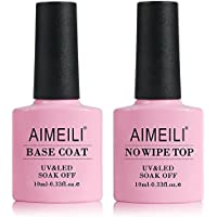 AIMEILI Base y Top Coat Semipermanente Esmalte Semipermanente de uñas Gel UV LED Set de Regalo Para Manicura y Pedicura Soak off - 2 x 10ml
