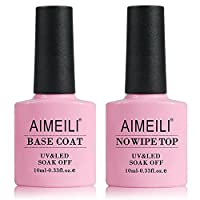 AIMEILI Smalto Semipermanente Smalto per Unghie Soak Off UV LED in Gel per Manicure Kit Semipermanente Unghie - Set Composto da Base e Top Coat 10ml