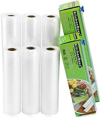 KitchenBoss Bolsas de Vacío 6 Rolls 20x500cm y 28 * 500cm con Caja de Corte (No Más Tijeras) para Almacenaje de Alimentos,Sous Vide Cocina, Aprobación ...