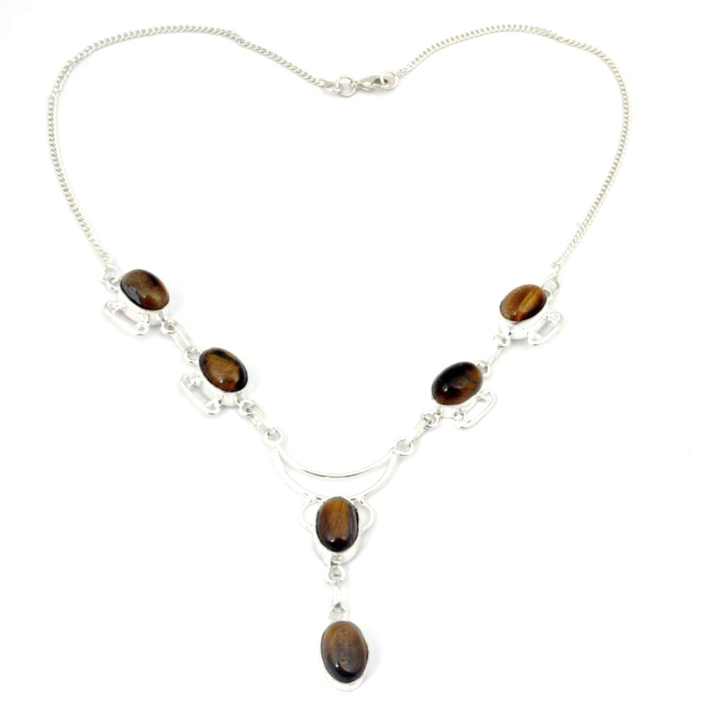 Exotic Gift Brown Tiger Eye Sterling Silver Overlay Necklace 17-18 Handmade Jewelry