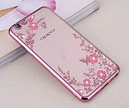 info for 75448 8d559 Loxxo® Back Cover for Oppo A3S Shockproof Soft Silicon TPU Transparent  Auora Flower Case Cover for Oppo A3S (Rose Gold)