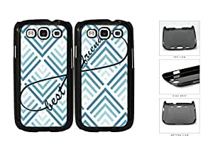 Blue Chevron Best Friends Set Hard Plastic Snap On Cell Phone Case Samsung Galaxy S3 SIII I9300