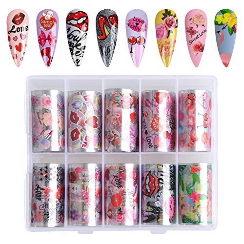 10 Rolls Romantic Nail Foil, Kalolary Transfer Stickers Nail Art Decals Red Lips Romantic Rose Nail Art Supplies Nail…