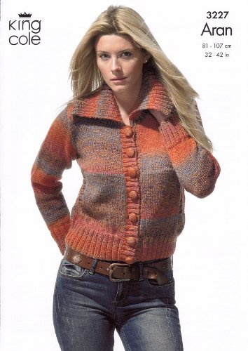 King Cole Ladies Cardigan Twist Aran Knitting Pattern 3227 Amazon