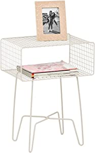 mDesign Modern Farmhouse Side/End Table - Metal Grid Design - Open Storage Shelf Basket, Hairpin Legs - Vintage, Rustic, Industrial Home Decor Accent Furniture for Living Room, Bedroom - Cream/Beige