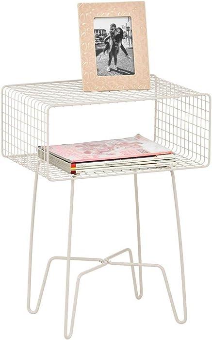 mDesign Modern Farmhouse Side/End Table - Metal Grid Design - Open Storage Shelf Basket, Hairpin Legs - Vintage, Rustic, Industrial Home Decor Accent Furniture for Living Room, Bedroom - Cream/Beige