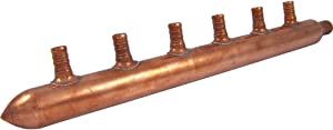 SharkBite 22787 6-Port Closed Copper Manifold with Crimp Branches