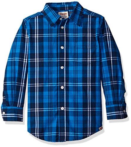 Wrangler Boys' Big Boys' Authentics Long Sleeve Woven Shirt, Royal/Navy Plaid, Large