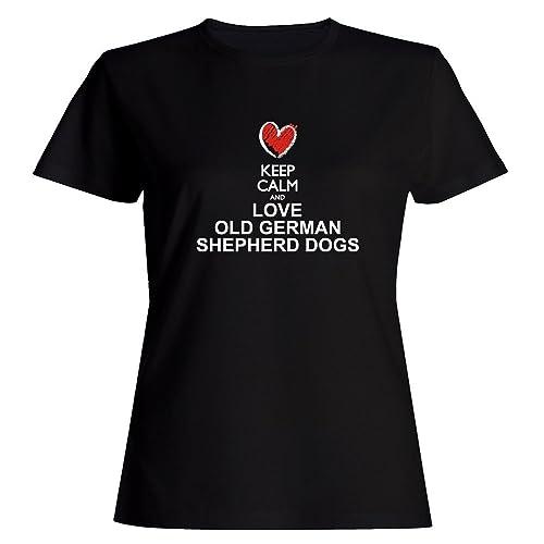 Idakoos Keep calm and love Old German Shepherd Dogs chalk style Maglietta donna