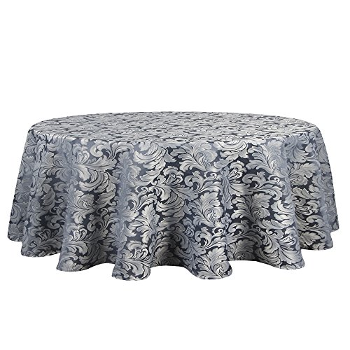 ColorBird Scroll Damask Jacquard Tablecloth Spillproof Waterproof Fabric Table Cover Kitchen Dinning Tabletop Linen Decor (Round, 70 Inch, Stone Blue)