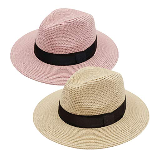 ZOORON Women Straw Fedora Hat, Panama Beach Sun Hat Summer Wide Brim Straw Floppy Hat UPF 50+