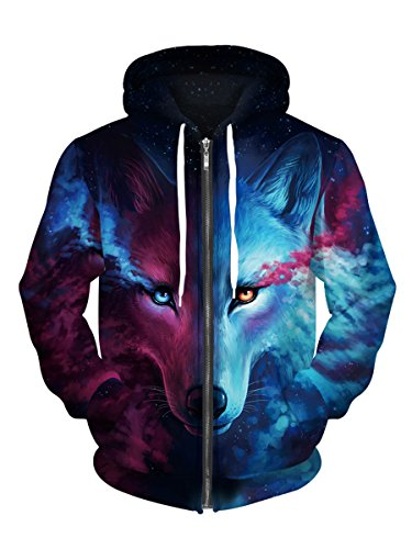 Royalove Men's Winter Cloth 3d Printed Hip Pop Long Sleeve Full-Zip Fleece Sweatshirt Jacket Glaxy Wolf L - Printed Full Zip Fleece