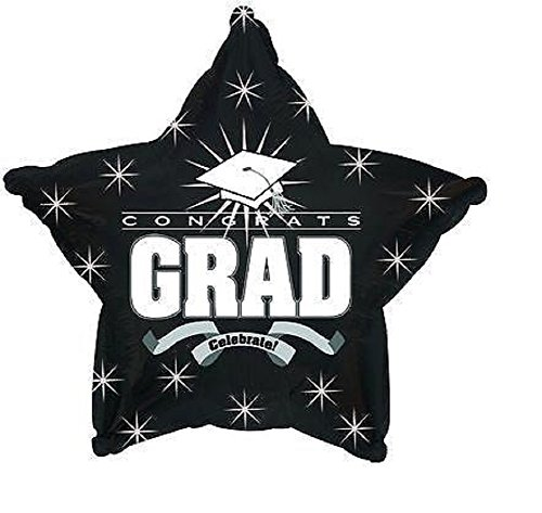 Star Shape Graduation Balloons School Colors - 5 Count (BLACK STAR)
