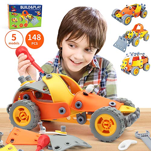 148 Pcs 5 In 1 Build And Play Toy Set Stem Educational Diy Learning And Education Building Kit Toys For Kids 8 9 10 Years Old Builds Car Helicopter Airplane Construction Truck Motorcycle