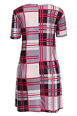 Laucote Womens Plaid Print Scoop Neck Short Sleeve Swing Tunic Dress With Pocket
