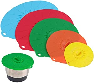 Silicone Bowl Lids Set of 5, Abnaok Heat Resistant Microwave Food Covers, Silicone Suction Lids for Bowls, Pots, Cups and Pans, Splatter Protection, Dishwasher Safe (4, 6, 8, 9, 12 Inch)