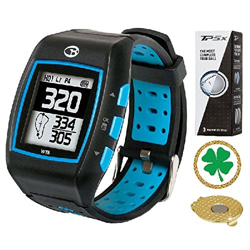 GolfBuddy WT5 Golf GPS/Rangefinder Watch (40k+ Preloaded Worldwide Courses) Bundle with 1 Sleeve (3 Balls) Taylormade TP5X and Magnetic Hat Clip Ball Marker (Four Leaf Clover)