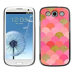 Escalas del modelo del oro rosa de Bling del brillo - Metal de aluminio y de plástico duro Caja del teléfono - Negro - Samsung Galaxy S3