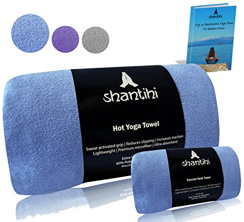 Shantihi Hot Yoga Towel - The Best Premium Yoga Mat Towel. Non Slip, Soft Absorbent Microfiber....