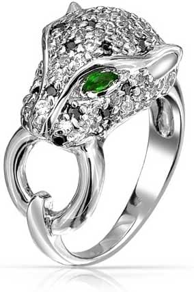 Bling Jewelry Simulated Emerald CZ Eye Panther Ring 3mm Rhodium Plated