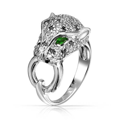 Bling Jewelry Green Eye Black White Cubic Zirconia CZ Fashion Leopard Panther Cat Statement Ring for Women Silver Plated Brass
