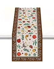 Vohado Rosh Hashanah High Holy Day Table Runner Shana Tova Linen Kitchen Dining Home Farmhouse Holiday Party Decorations