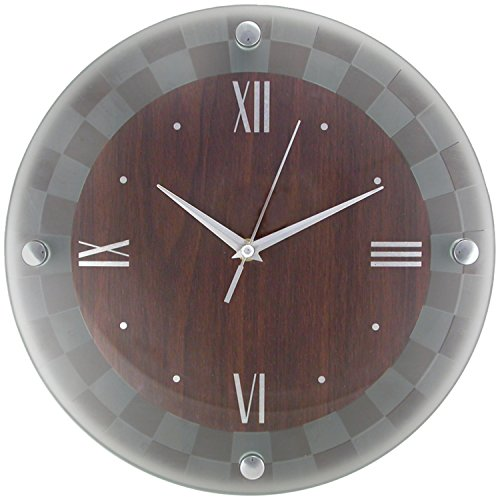 Timekeeper Round Wallclock with Dark Wood Frosted Glass Outer Cover and Silver Numbers, 12-Inch