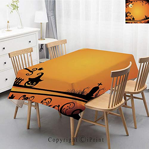 Plaid Decorative Linen Tablecloth With Tassel Oilproof Thick Rectangular Wedding Dining Table Cover Tea Table Cloth,40x60 Inch,Vintage Halloween,Halloween Themed Image Eerie Atmosphere Gravestone -