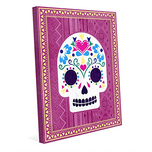 Cutie Skull - pink: Colorful Drawing of Mexican Day of the Dead Sugar Skull Wall Art Print on - Sugar Skull Pink Art