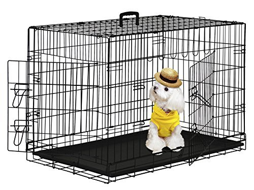 BestPet 42' Wire Metal Folding Pet Dog Cage Crate Kennel W/2-doors w/ ABS Plastic Removable Tray
