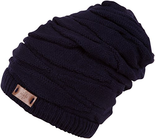 - Sakkas BN1999 Emerson 2-in-1 Knit Hat and Head Wrap - Navy - One Size