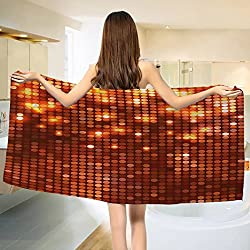 Copper Bath towel Vibrant Colored Dots Spotted Mosaic Design with Energetic Pattern Print Cotton Beach Towel Burgundy Orange Yellow (55x28)