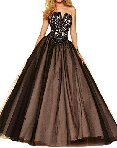 M Bridal Women's Rhinestones Strapless V Cut Masquerade Ball Gown Evening Dress Black Size 26