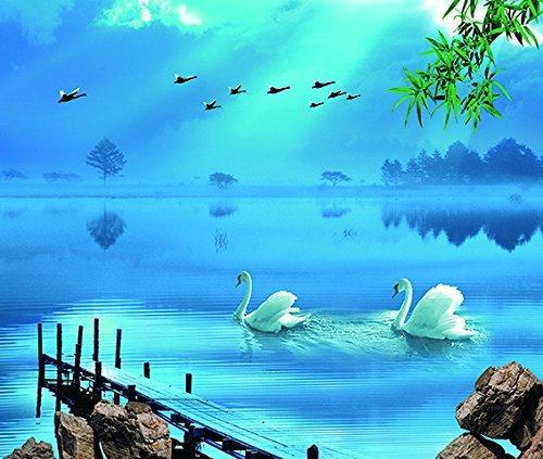 Buy Kayra Decor Blue Sky Sea Water Swan Birds 3d Wallpaper