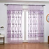 Curtain Printed Tulle Translucidus Window Gauze Ripple Curtains, Shading Effect Anti-Mosquito and Insect-Proof Sheer Curtain, Home Decorations Light Filtering Voile Bedroom