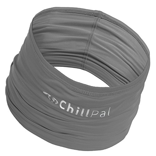 Chill Pal Multi Style Cooling Band - Full Size - 12 Ways to Wear (Grey, Full Size) (Disney Head Scarf)